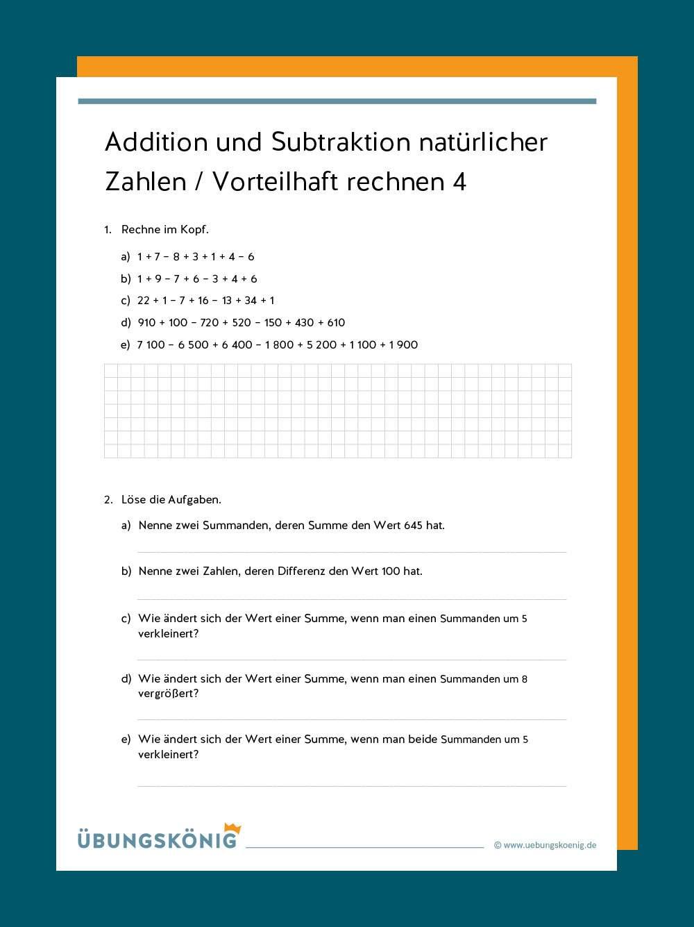 Addition und Subtraktion natürlicher Zahlen