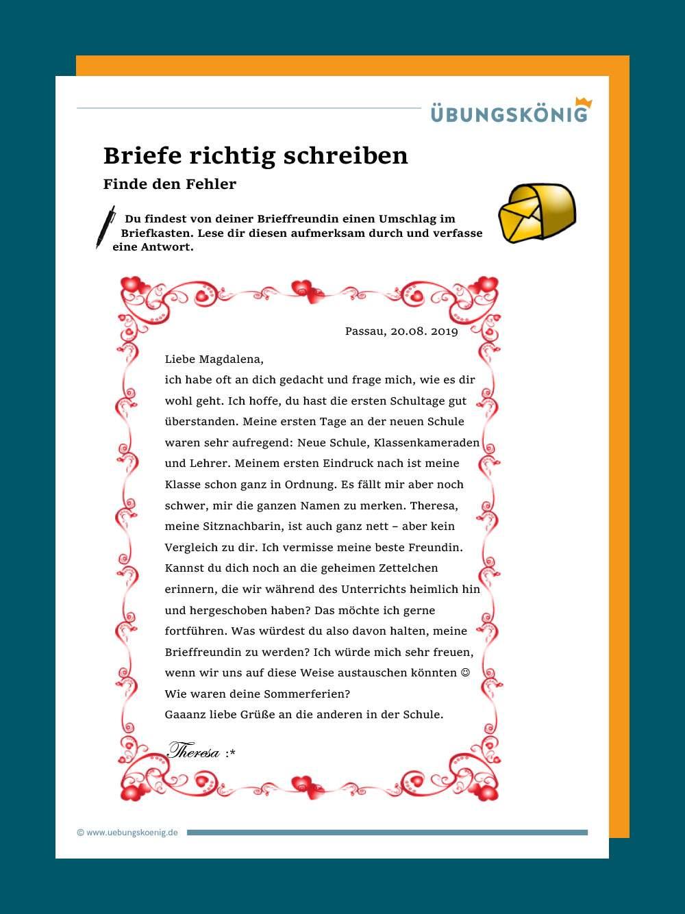 Schreiben an freunde muster briefe Schöne Briefe