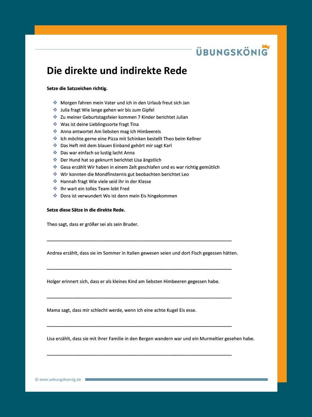 Tafelmaterial Und Arbeitsblatt Direkte Rede 4