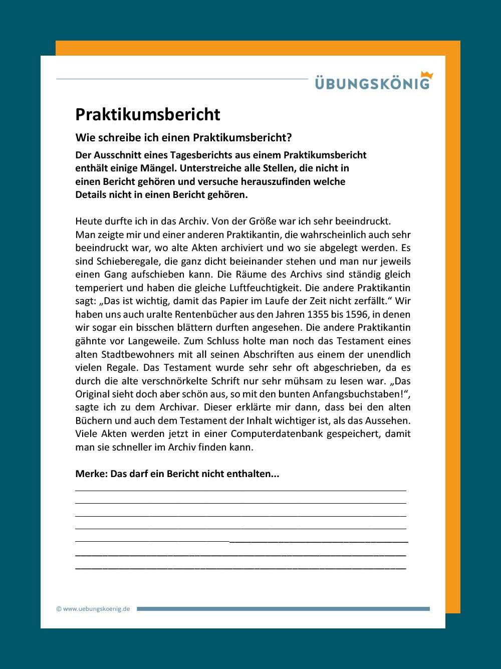 Deckblatt Praktikumsbericht Zum Betriebspraktikum 8