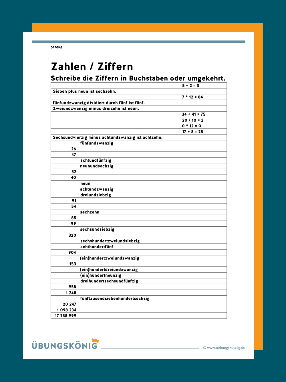 DaZ / DaF Kardinalzahlen