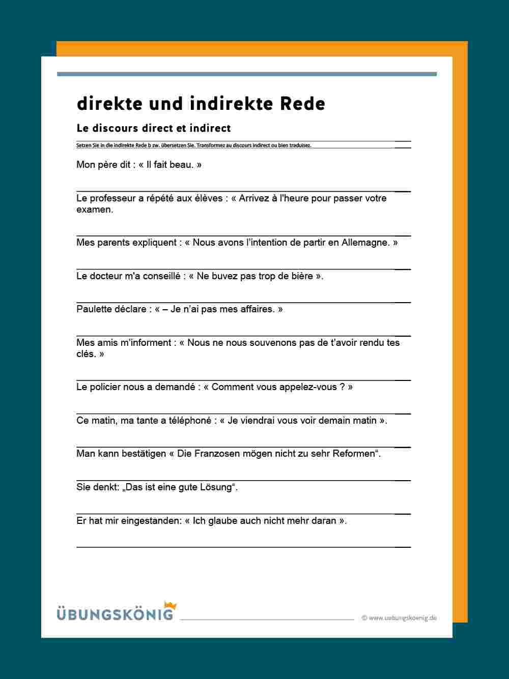 Deutsch Daf Wortliche Rede Arbeitsblatter 11