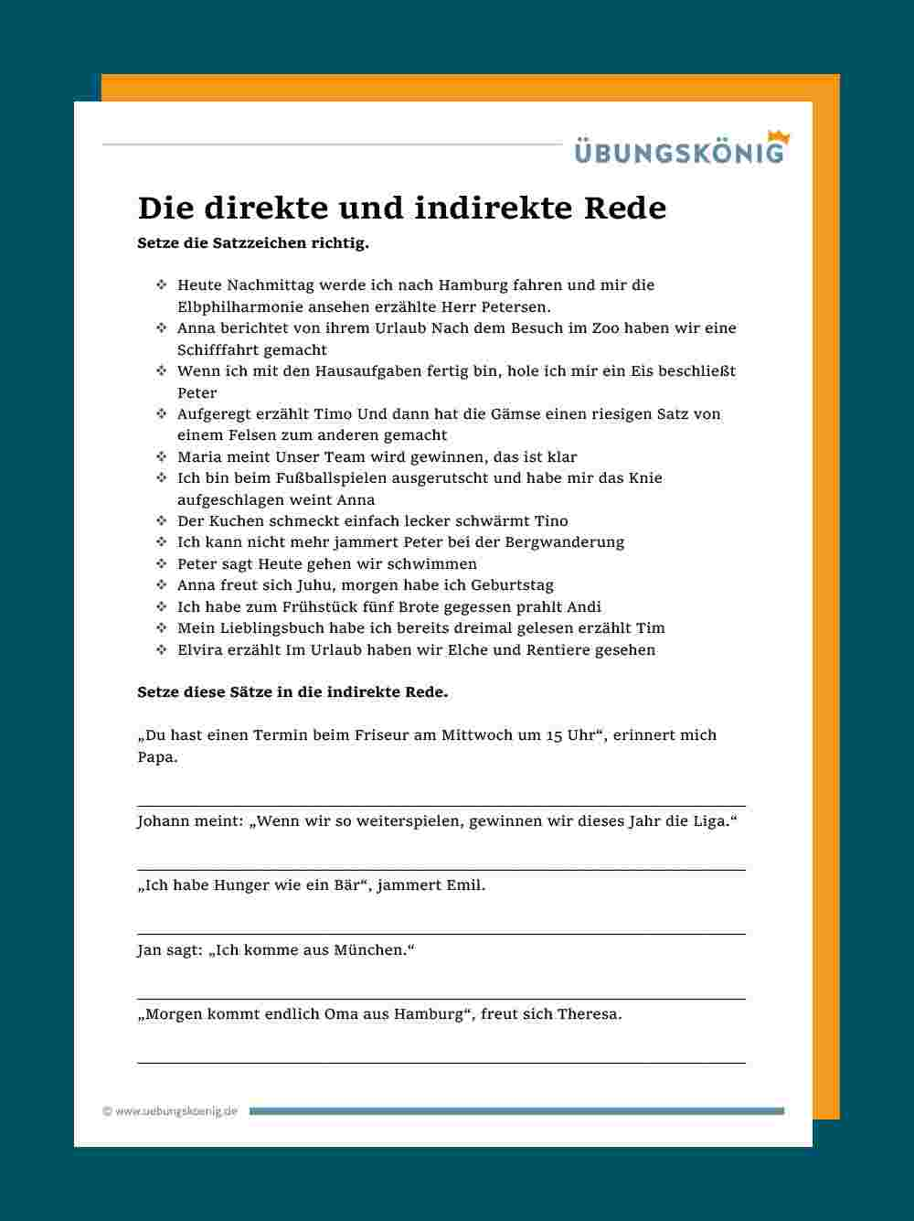 Tafelmaterial Und Arbeitsblatt Direkte Rede