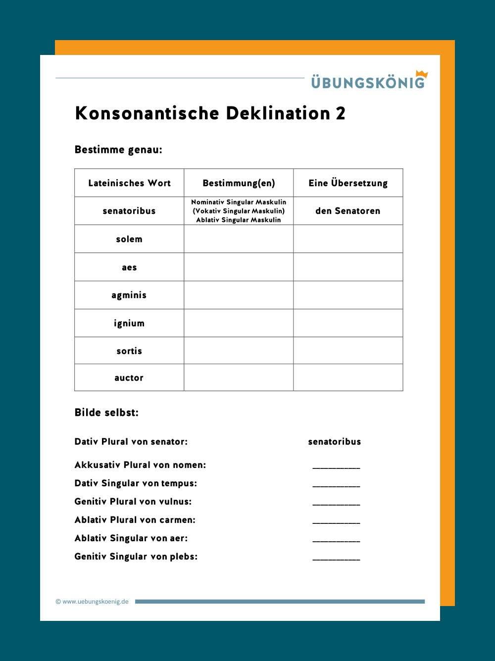 Die Deklination Der Substantive Im Singular 1