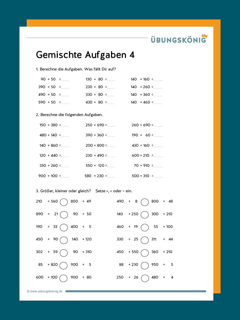 Gemischte Aufgaben Addieren / Subtrahieren im Zahlenraum 20